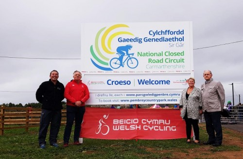 Cllr Peter Hughes Griffiths, EBM for leisure, Cllr Shirley Mathews, local member for Pembrey, Nick Smith, Chair of Welsh Cycling and Neil Thomas, Pembrey Country Park, Senior Recreation Manager.
